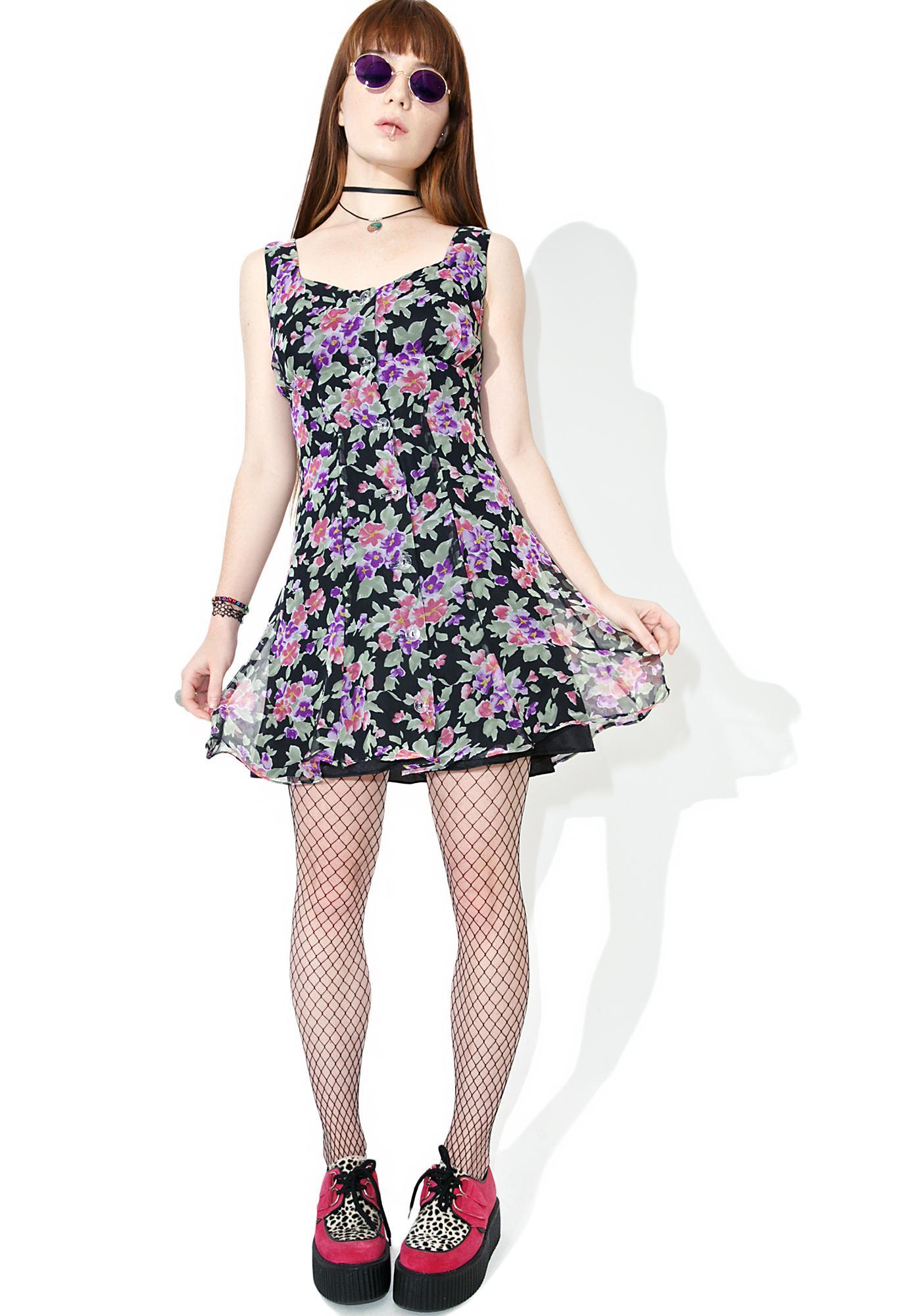 Vintage 90s Anna Sui Floral Dress