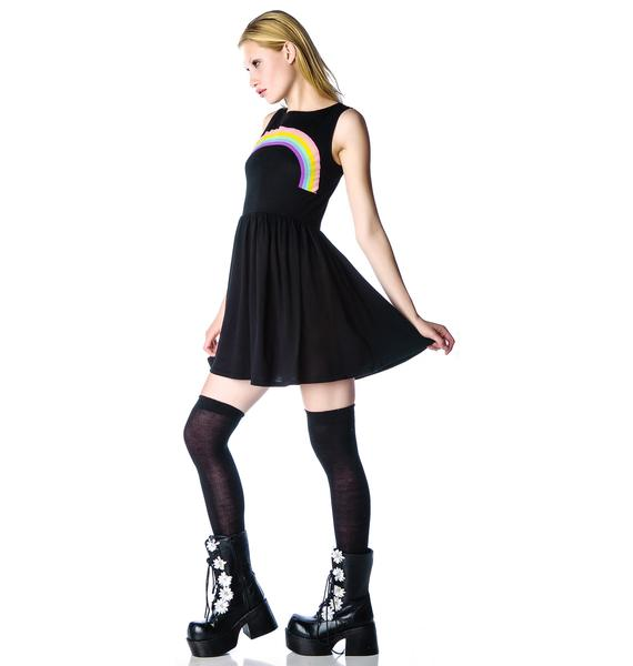 Wildfox Couture Grunge Rainbow 90s Baby Doll Dress