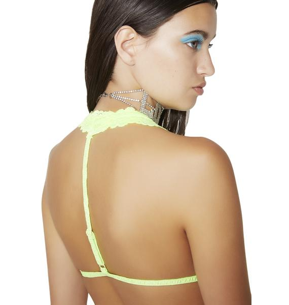 Lime Incantation Lace Halter Bralette