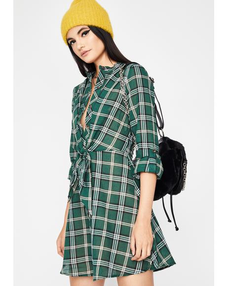 Hit Snooze Plaid Dress