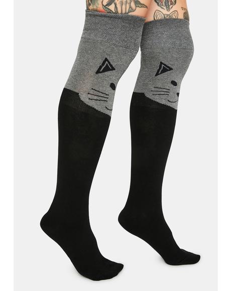 Cat Thigh High Socks