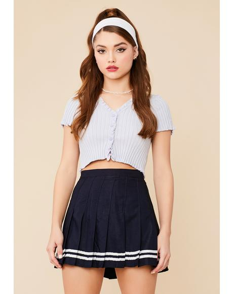 Navy Flirt Alert Pleated Mini Skirt