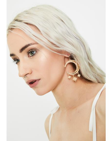 Wish On A Star Moon Earrings