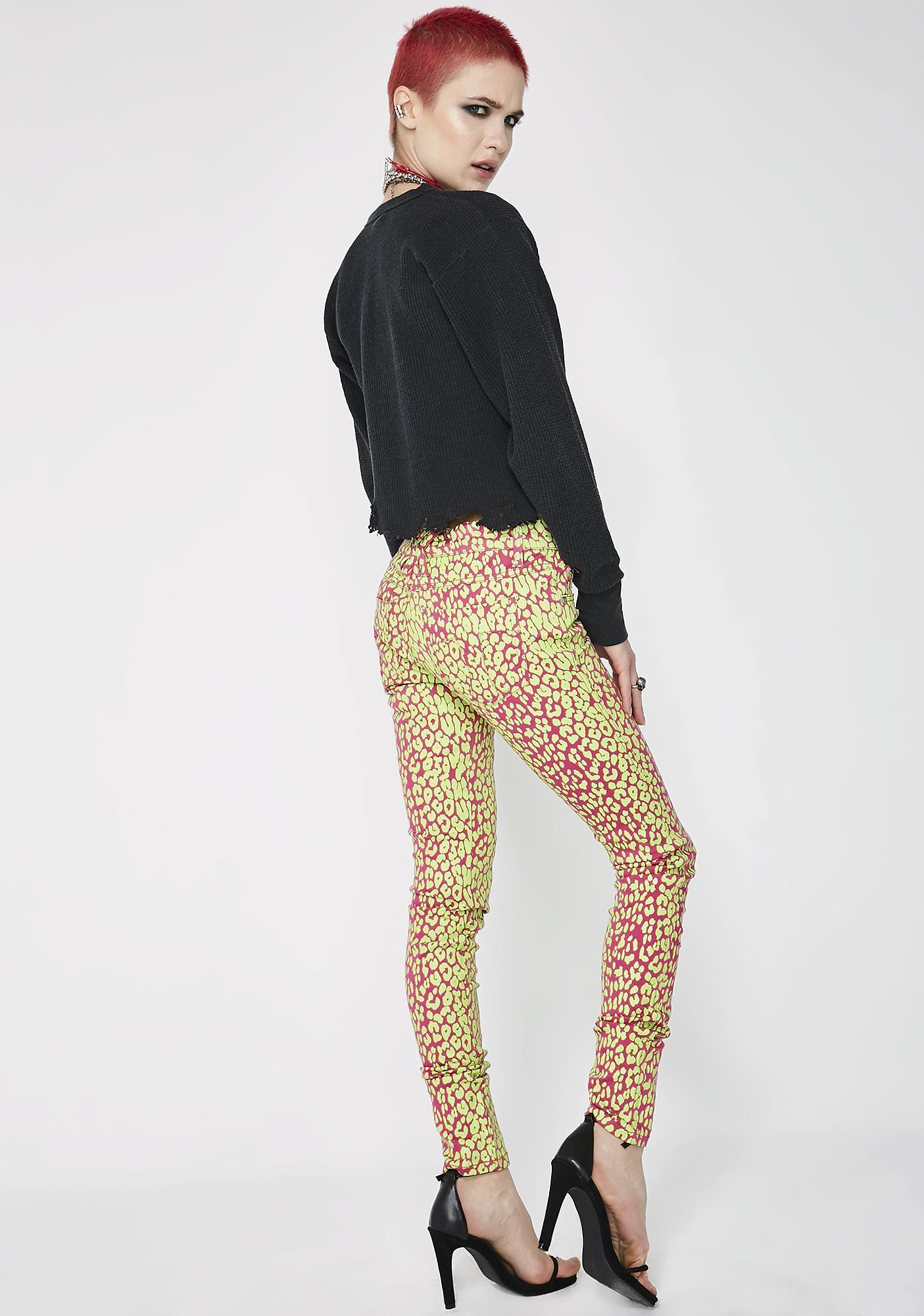 Tripp NYC Neon Leopard Print Skinny Jeans
