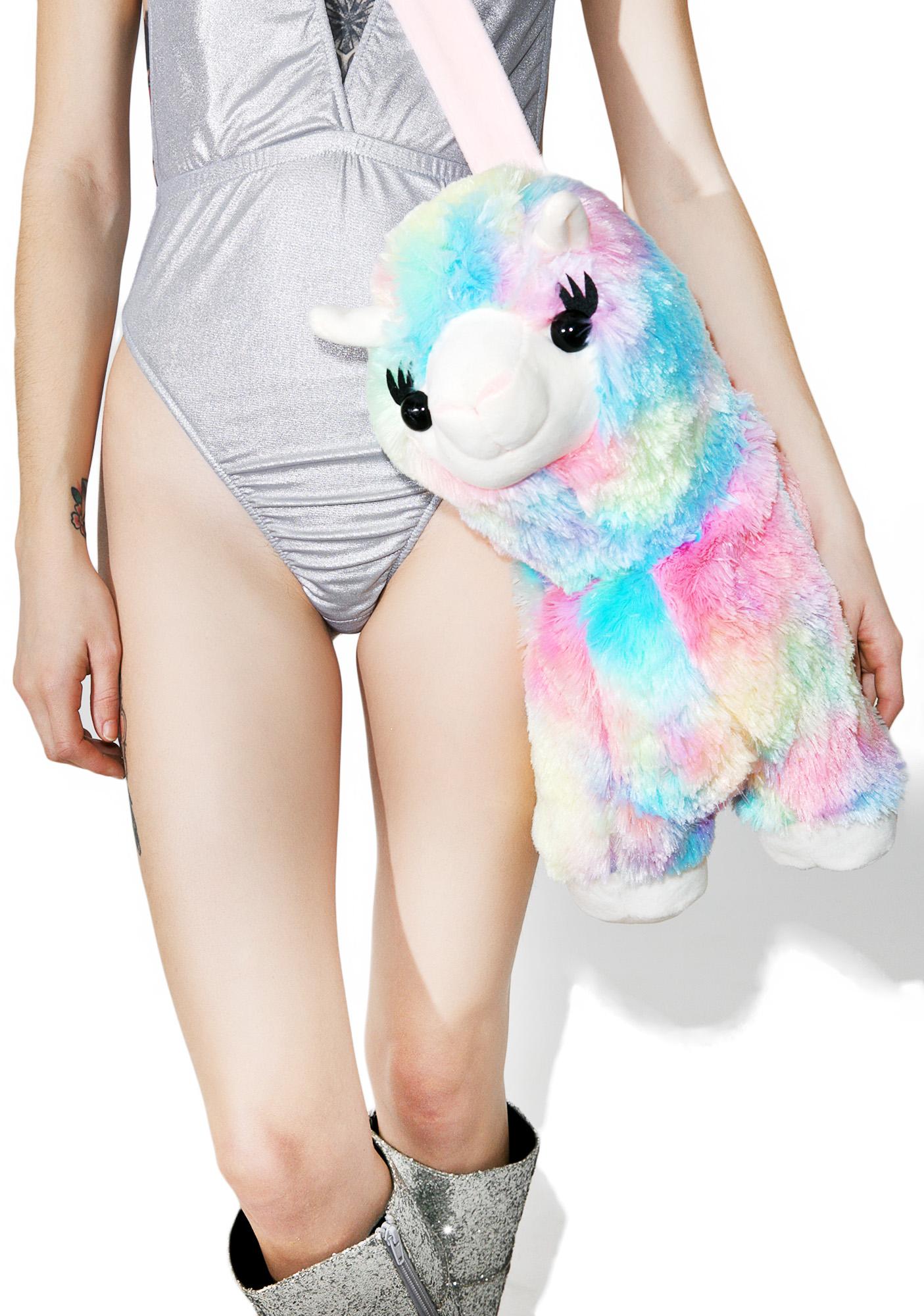Pastel Rainbow Alpaca Plush Crossbody Bag