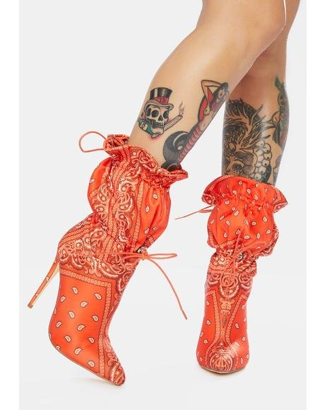 Puff Bandana Stiletto Booties