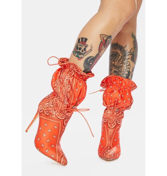 AZALEA WANG Puff Bandana Stiletto Booties