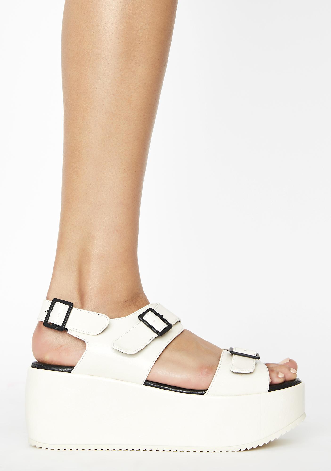 Rebels White Lori Platform Sandals
