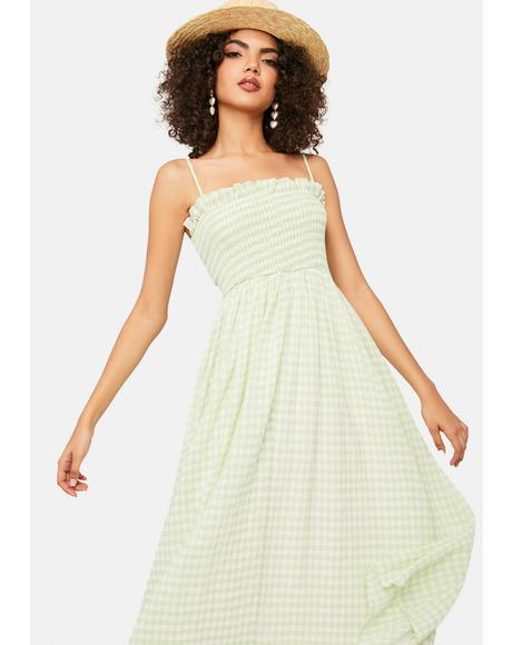 Brunch Date Gingham Midi Dress