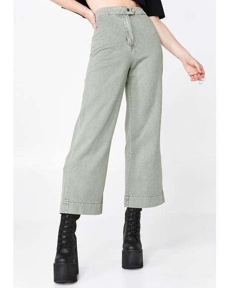 Crop Olive Denim Flares