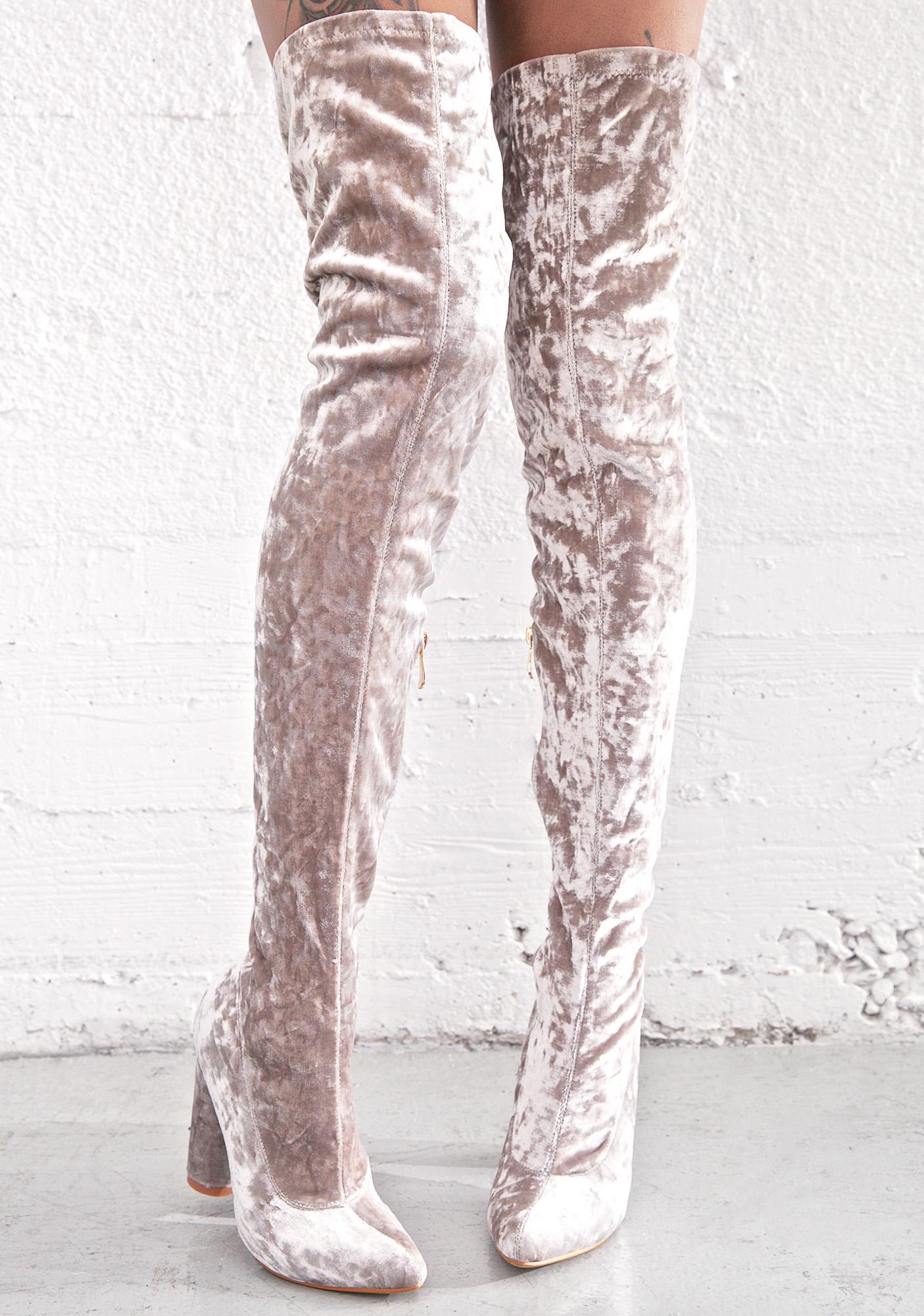 Grey Velvet Thigh High Boot