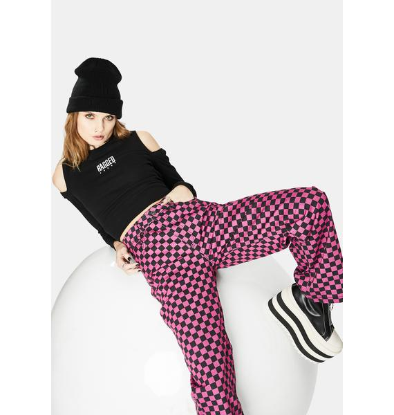 The Ragged Priest Pink Checkered Roach Jeans