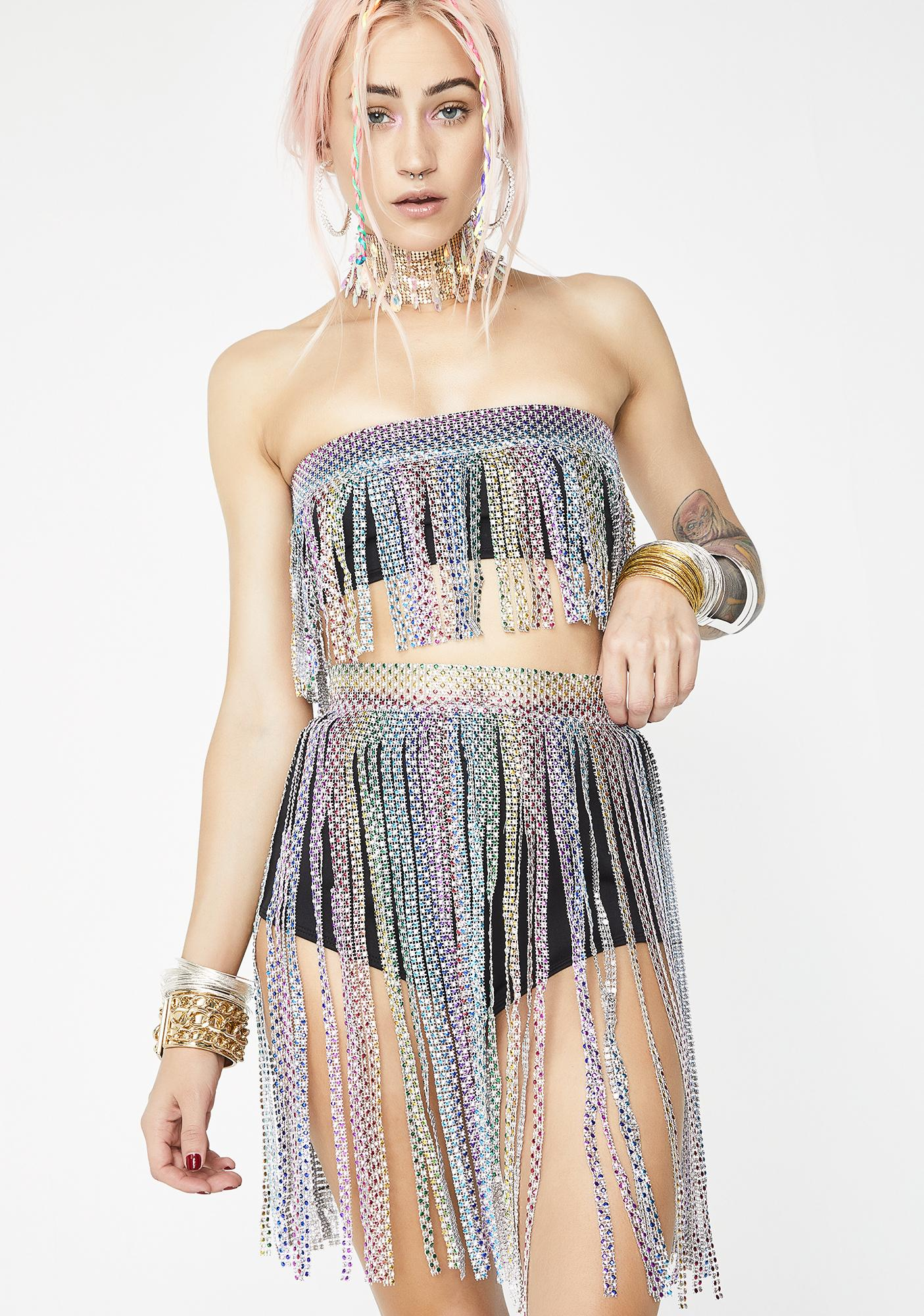 Jaded London Rainbow Diamante Belt Detail Hot Pants
