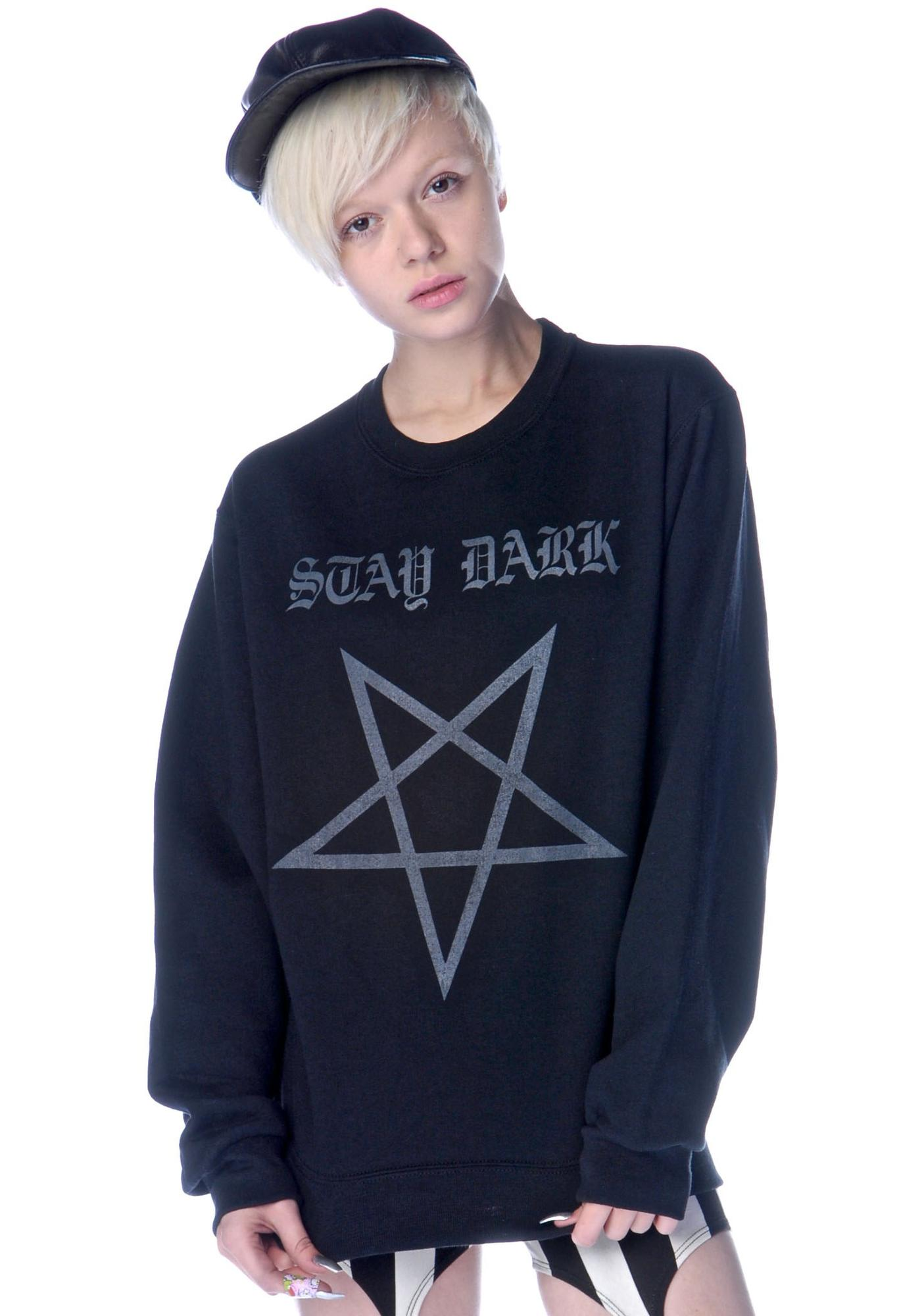 Shop W.A.S. Stay Dark Pentagram Sweatshirt
