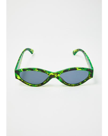 Green Caution Sunglasses