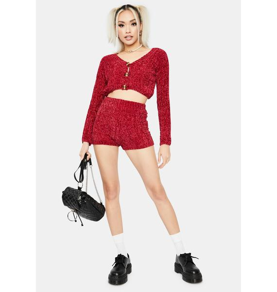Burgundy Private Plush Knit Lounge Shorts