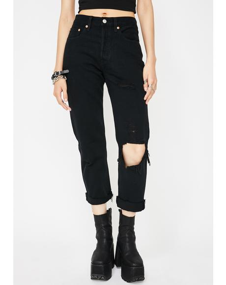 Black Clouds 501 Crop Jeans
