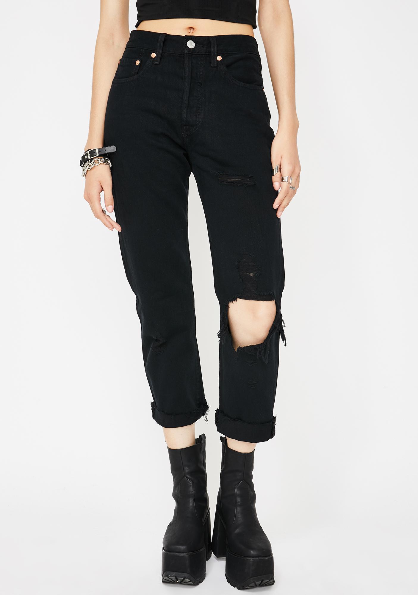 Levis Black Clouds 501 Crop Jeans