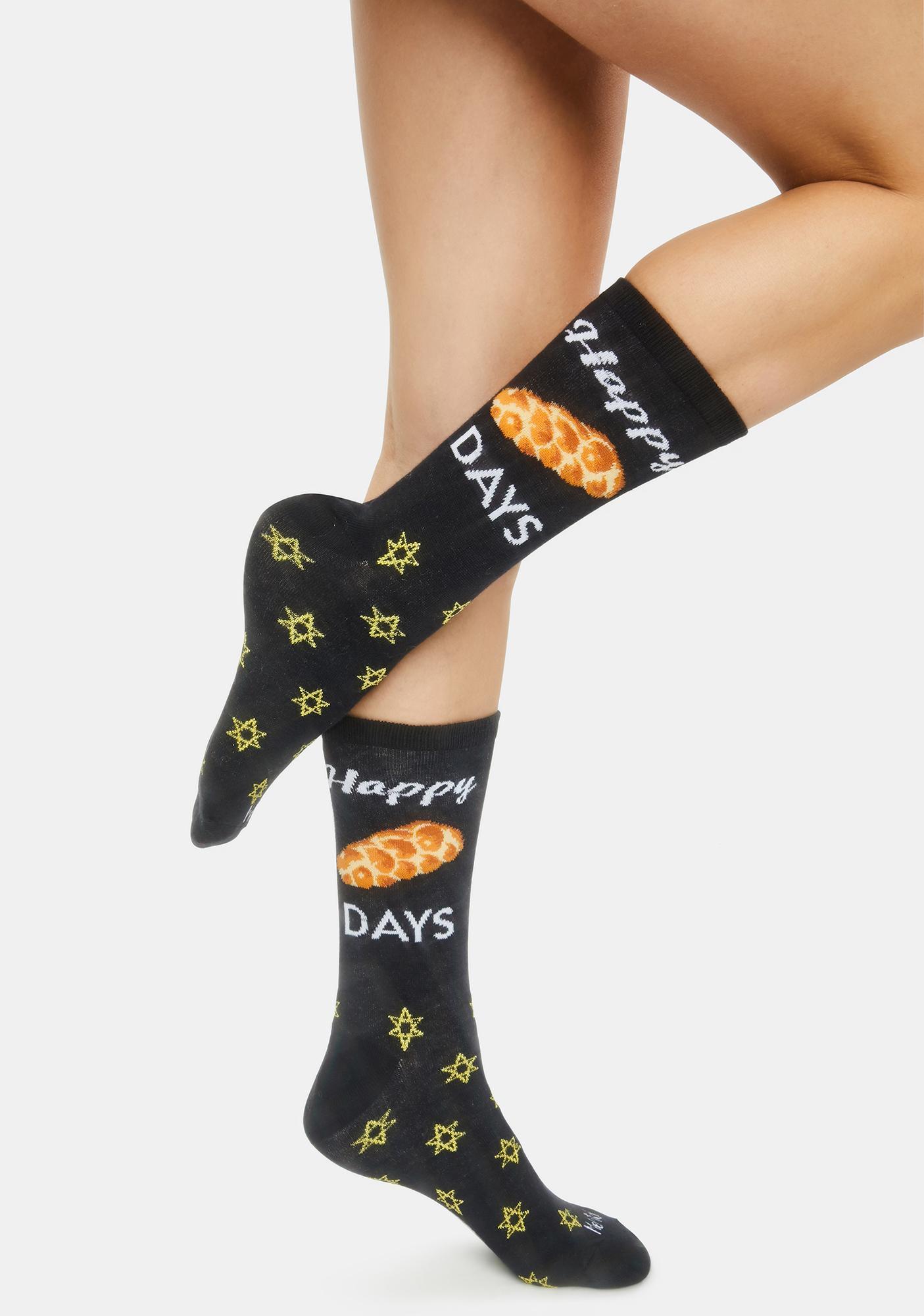 MeMoi Happy Challa Days Holiday Crew Socks