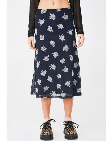 Floral Tauri Midi Skirt