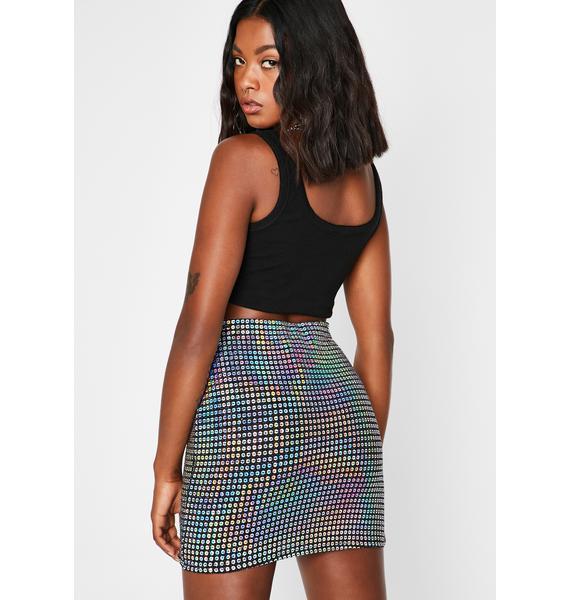 Aquatic Rainbow Holographic Mini Skirt