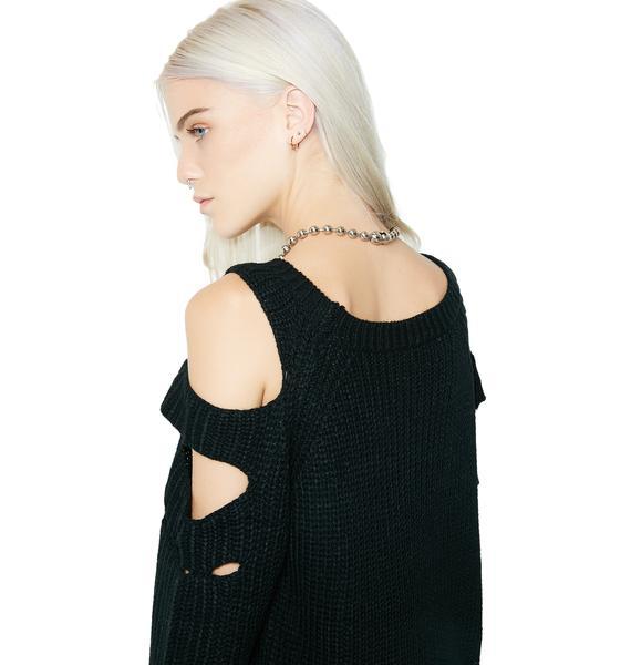 Floral Cold Shoulder Sweater