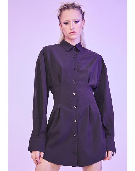 Noir Waiting For Tonight Long Sleeve Shirt Dress
