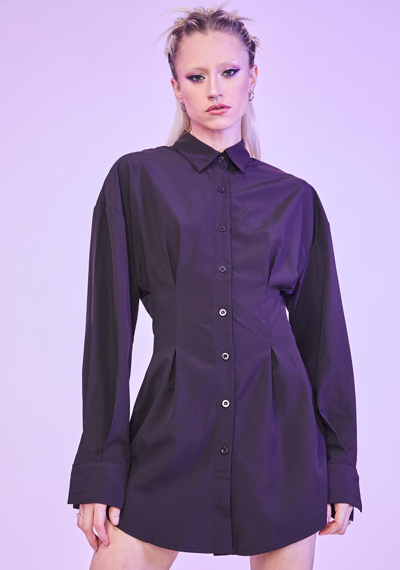 Noir Waiting For Tonight Long Sleeve Shirt Dress