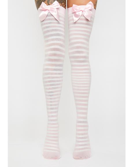Peek-A-Bow Thigh High Socks