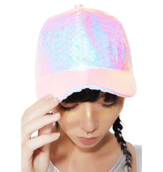Shine Brighter Iridescent Snake Baseball Hat