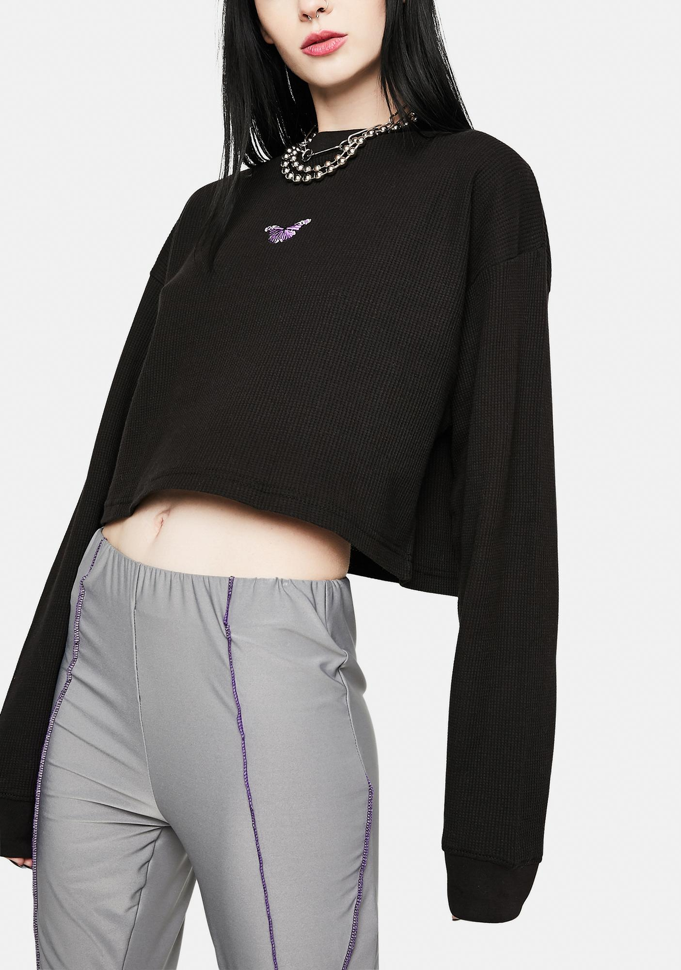 Daisy Street Hadley Embroidered Butterfly Waffle Knit Top