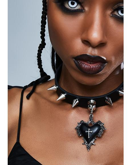 Heart Cross Throne Pendant Spiked Choker