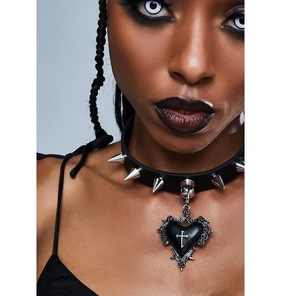 Funk Plus Heart Cross Throne Pendant Spiked Choker