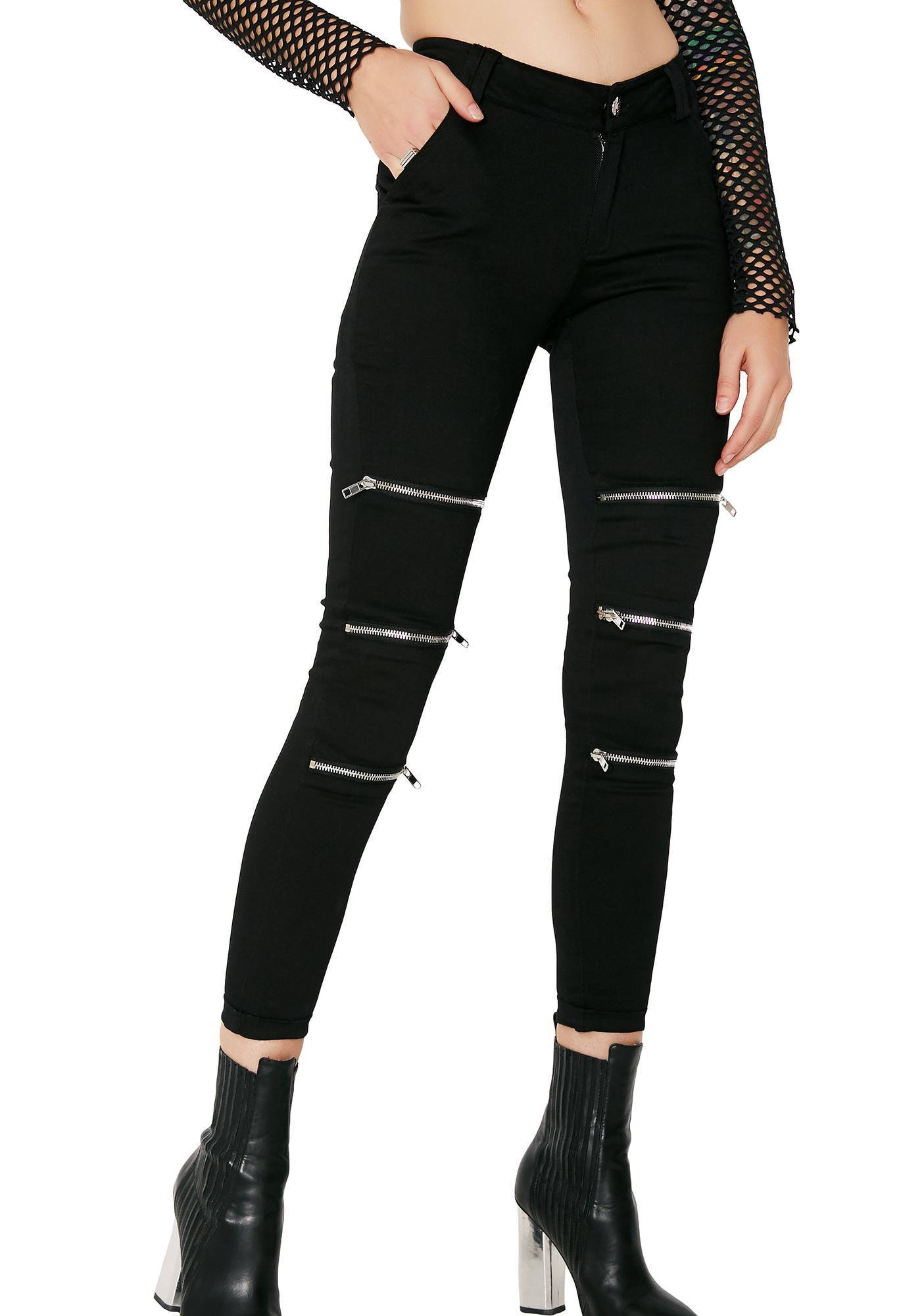 Zip Your Lip Skinny Zipper Jeans