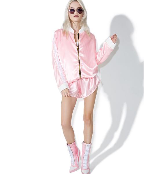 O Mighty Pynk Silk Kitten Bomber Jacket