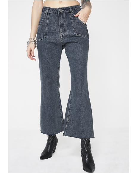 Libertines High Waist Cropped Wide Leg Jeans