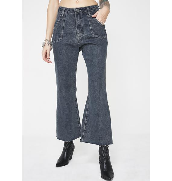 One Teaspoon Libertines High Waist Cropped Wide Leg Jeans