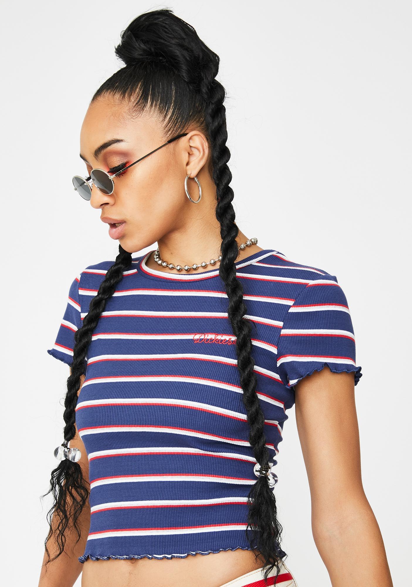 Dickies Girl Navy Striped Baby Tee