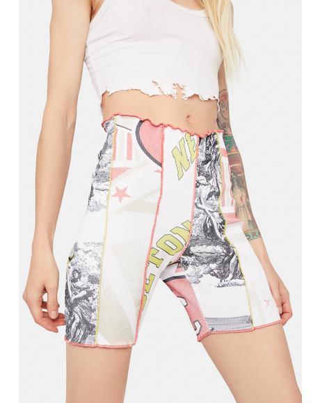 Mix Varsity Print Cut & Sew Rib Biker Shorts
