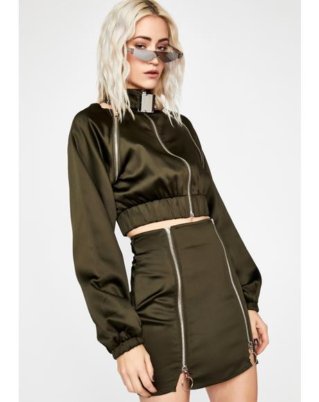 Olive Fly Nation Bomber Skirt