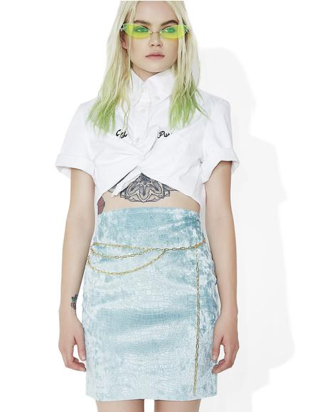 Ice Blue Croc Skirt