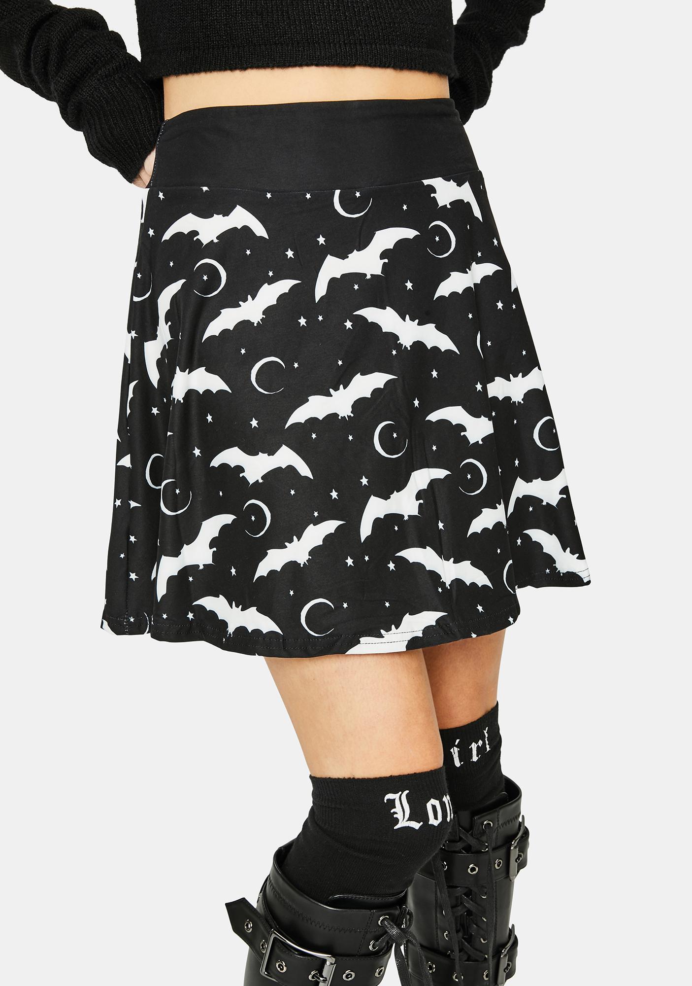 Too Fast Starry Moon Bats Skater Skirt