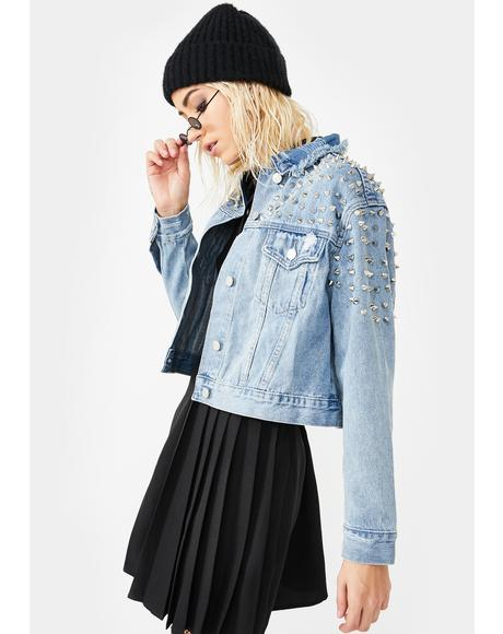 Grunge Star Studded Denim Jacket