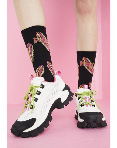 X Pink's Hot Dogs Black Crew Socks