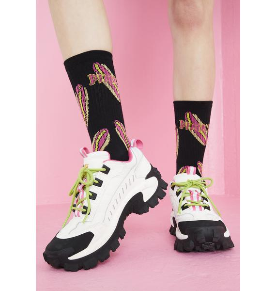 Petals and Peacocks X Pink's Hot Dogs Black Crew Socks