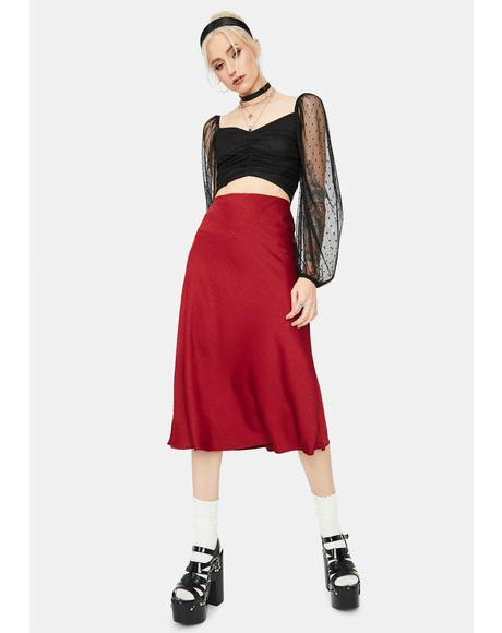 Heart Says Hello Textured Midi Skirt