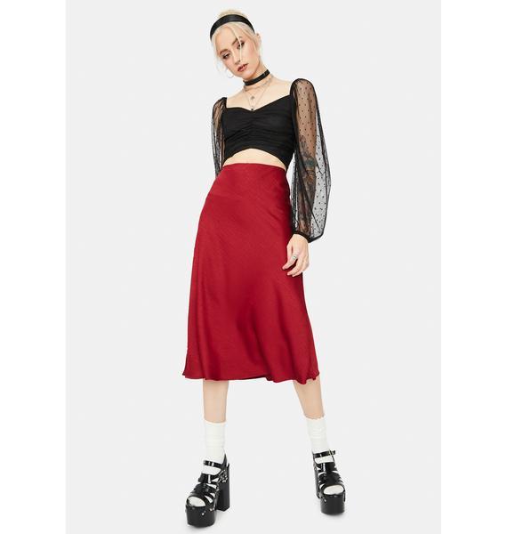 Heart Says Hello Textured Midi Skirt