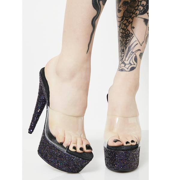 Dark Cinderella Slipper Heels