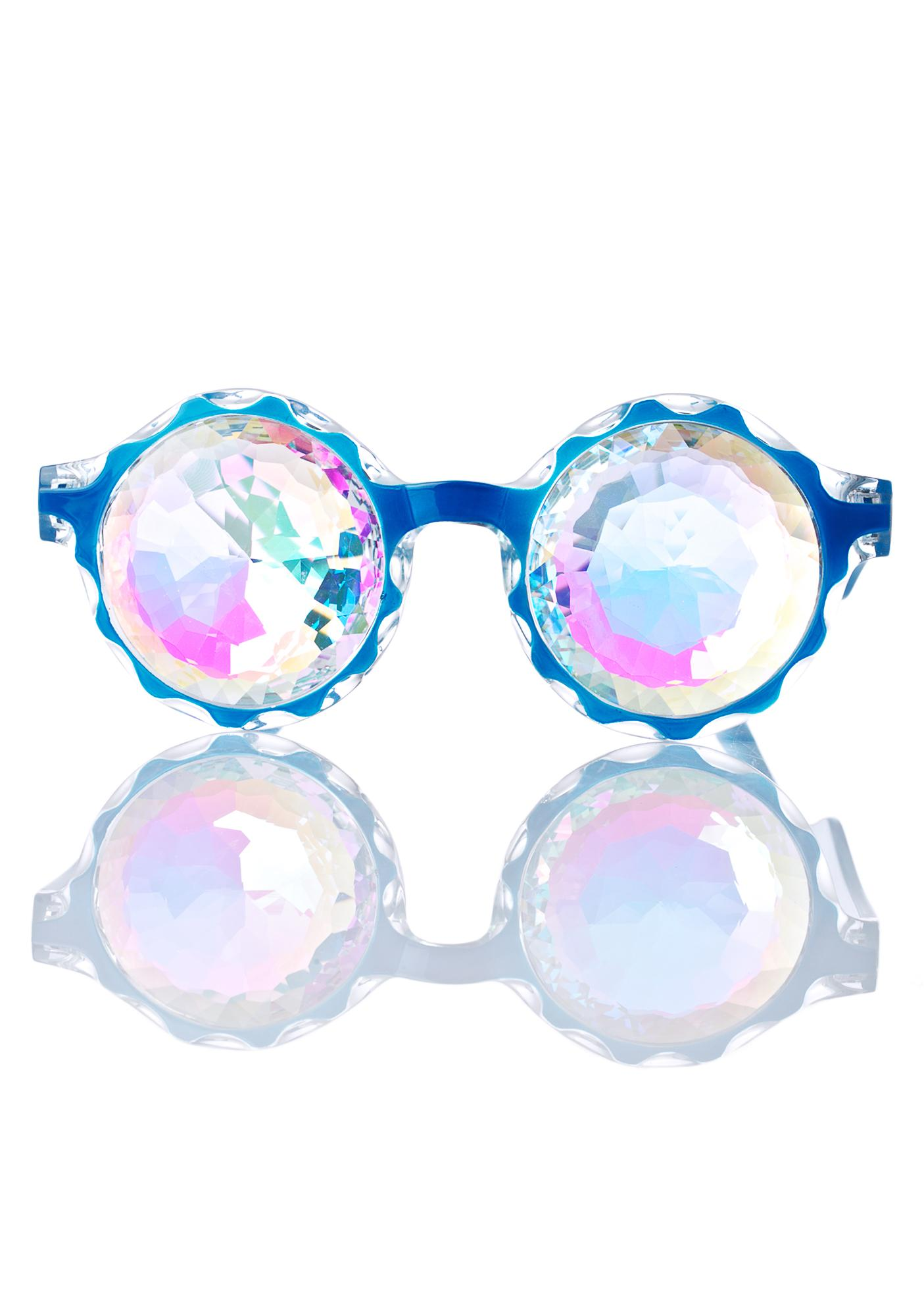 GloFX Crown Blue Kaleidoscope Glasses