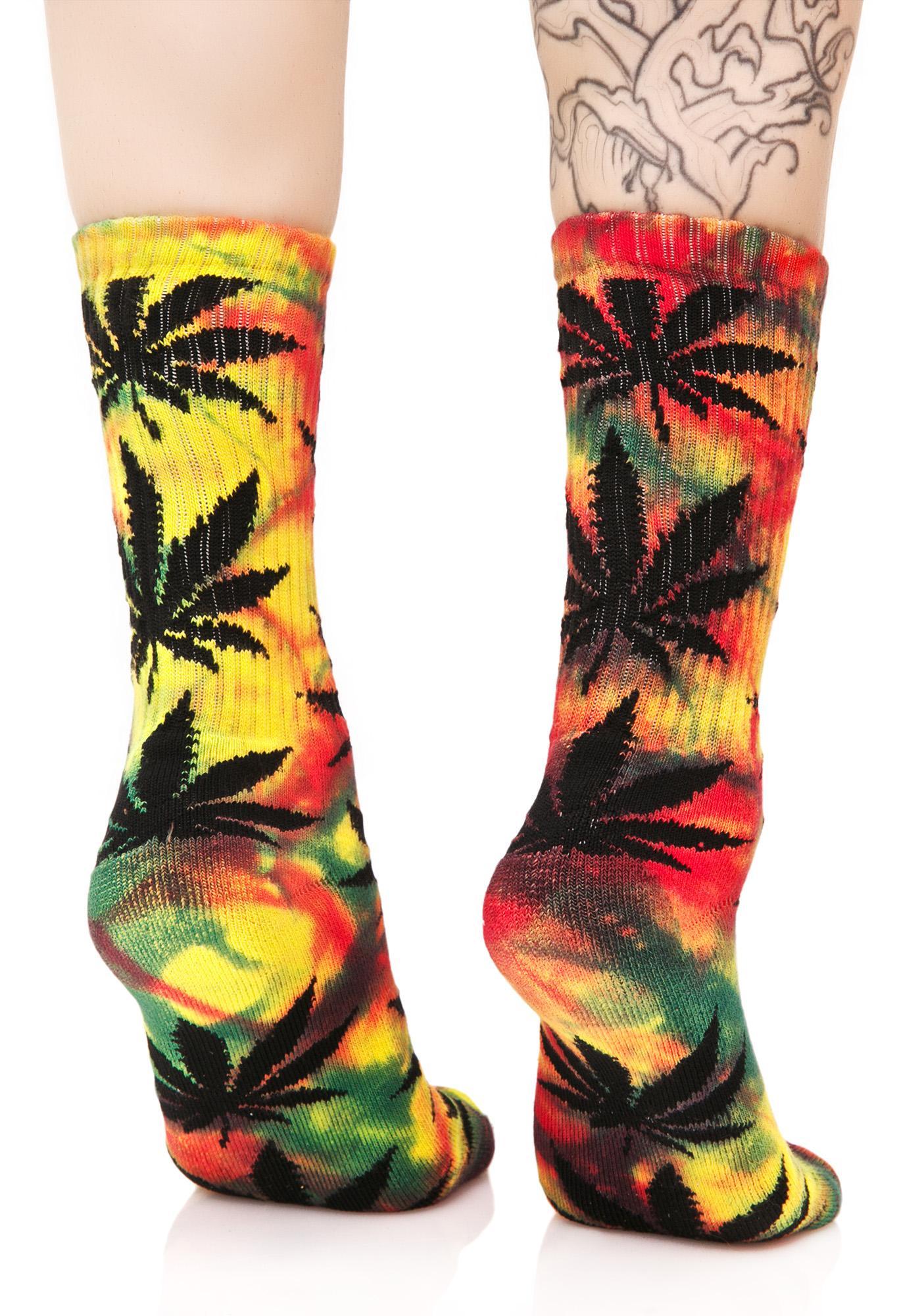 HUF Tropical Tie Dye Plant Life Crew Sock